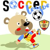 Soccer. Cute bear the best soccer player with team logo, vector cartoon. EPS 10 vector illustration