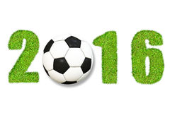 Soccer 2016. Date 2016 with grass texture and soccer ball, isolated on white background Stock Image