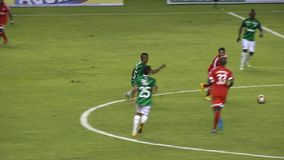 Soccer Defender Blocks Pass. Stock video of soccer players pass block stock video footage