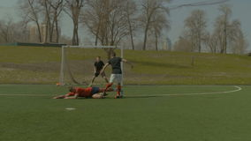 Soccer defense player making sliding tackle stock video