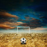 Soccer in desert land Stock Photo
