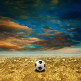 Soccer in desert land Royalty Free Stock Image