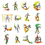 16 Soccer Doodle Icons Set. Hand drawn sketches with colored swipe on white backgound. Vector art stock illustration
