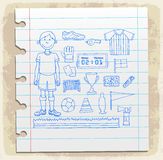 Soccer doodle on paper note, vector illustration Royalty Free Stock Image