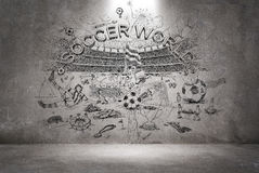 Soccer doodle on the wall Stock Photo