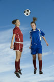 Soccer double headbutt Royalty Free Stock Images