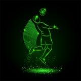 Soccer. Drop-kick by head. Neon style. Soccer. Drop-kick by head. Vector neon illustration royalty free illustration