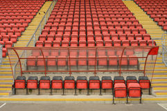 Soccer dugout and seats Royalty Free Stock Photo