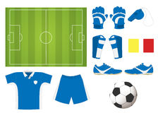 Soccer element set. Soccer set : ball, T- shirt, shorts, shoes, hand gloves,leg pads, red and yellow cards Stock Photography