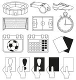 14 soccer elements black and white set. Sport vector illustration for icon, sticker sign, patch, certificate badge, gift card, stamp logo, label, poster, web Royalty Free Stock Photo