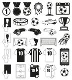30 soccer elements black and white set. Sport vector illustration for icon, sticker sign, patch, certificate badge, gift card, stamp logo, label, poster, web Stock Photo