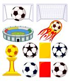 11 soccer elements colorful cartoon set. Sport vector illustration for icon, sticker sign, patch, certificate badge, gift card, stamp logo, label, poster, web Stock Images