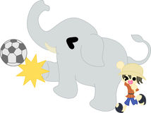 Soccer by the elephant Stock Photos