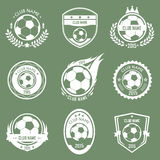 Soccer emblems. Collection of soccer emblems retro style with green background Stock Photo