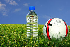 Soccer equipment. Close-up of soccer ball and water stock photography