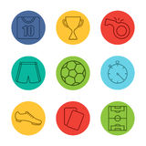 Soccer equipment linear icons set Royalty Free Stock Image