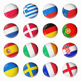 Soccer Euro 2012. Set of 3d flags on Soccer ball Royalty Free Stock Photography