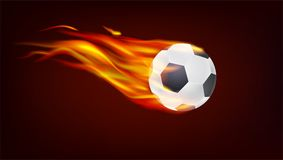 Soccer, European football ball on fire.. Resizable vector 3D illustration for your, ready for print design Stock Image