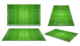 Soccer, european football field in different point of perspective view. Isolated vector illustration. Soccer green field for game Stock Image
