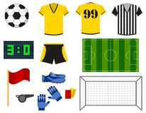 Soccer or european football flat icons set. Uniform, ball, football goal, soccer field, shoes and gloves isolated on. White background. Tournament vector Stock Image