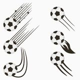 Soccer or European Football flying balls set with speed motion trails. Graphic design for sports logo. Vector. Soccer or European Football flying balls set with Stock Photography