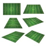 Soccer, european green football field in different point of perspective view. Soccer green field for sport game. Isolated vector retro set illustration Stock Images