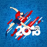 Soccer player kicking ball for 2018 sport game. Soccer event illustration for special football match in 2018. Male sport player kicking ball with festive Royalty Free Stock Images