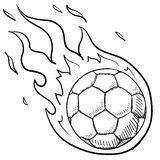 Soccer excitement sketch. Doodle style flaming soccer or futbol illustration in vector format Stock Images