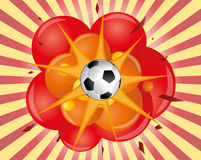 Soccer explosion. Illustration of an soccer ball with explosion Stock Photo