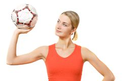 Soccer fan. Picture of a girl with a soccer ball Stock Photo