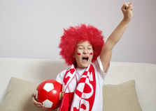 Soccer fan. Socer fan portrait with ball Stock Photography