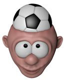 Soccer fan. Cartoon character with soccer ball in his head - 3d illustration Stock Image