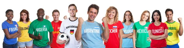 Soccer fan from Argentina with fans from other countries royalty free stock image