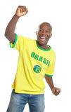 Soccer fan from Brazil is happy about the world cup 2014 stock photography