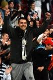Soccer fan celebrating a victory Stock Photos