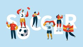 Soccer Fan Character Cheering Team Typography Banner. People Group Play Football Final Game. Sport Winner Flag. Motivation Cup Goal Horizontal Poster Design stock illustration