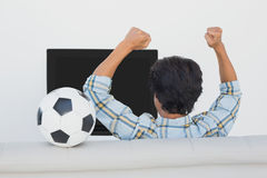 Soccer fan cheering while watching tv. Rear view of a soccer fan cheering while watching tv Stock Photos