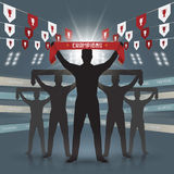 Soccer fan club. Silhouettes of soccer fan club design on blue background Royalty Free Stock Images