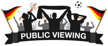 Soccer fan crowd silhouette germany public viewing isolated vector. Design royalty free illustration
