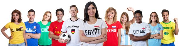 Soccer fan from Egypt with supporters from other countries. On an isolated white background for cut out Stock Photography