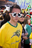 Soccer Fan in Fancy Dress Getup. Football frenzy at Bafana celebration Stock Photography
