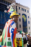 Soccer Fan in Fancy Dress Getup. Football frenzy at Bafana celebration Stock Images