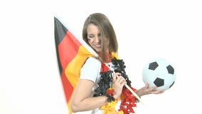 Soccer Fan with flag and ball Stock Photos