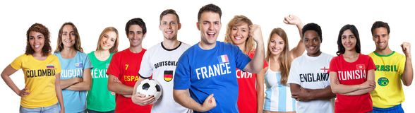 Soccer fan from France with supporters from other countries Stock Image