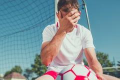 Soccer Fan Frustration. Devastated Caucasian Euro Football Fan in His 30s on the Soccer Field stock image