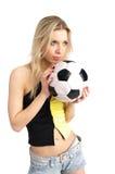 Soccer fan girl Stock Image