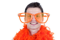 Soccer fan with glasses Royalty Free Stock Photo