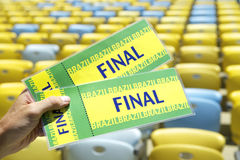 Soccer Fan Holding Final Brazil Tickets at the Stadium Stock Photography