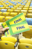 Soccer Fan Holding Final Brazil Tickets at the Stadium Royalty Free Stock Photos