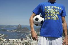 Soccer Fan Holding Football Rio de Janeiro Skyline Overlook Stock Images